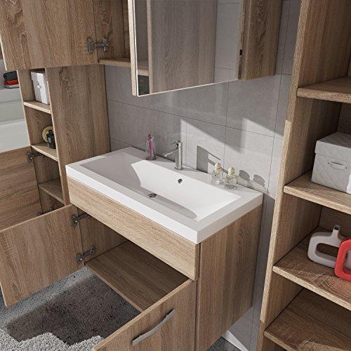 badezimmer badm bel paso xl led 80 cm waschbecken sonoma eiche unterschrank 2x hochschrank. Black Bedroom Furniture Sets. Home Design Ideas