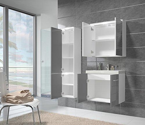 badezimmer badm bel toledo led 60 cm waschbecken hochglanz. Black Bedroom Furniture Sets. Home Design Ideas