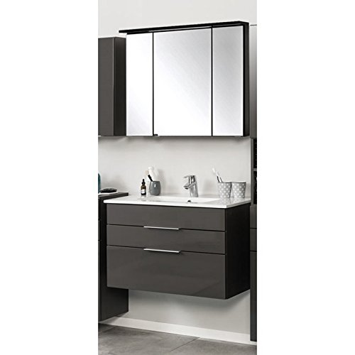 badezimmerm bel waschplatz set in hochglanz grau 80cm keramik waschtisch led spiegelschrank b. Black Bedroom Furniture Sets. Home Design Ideas
