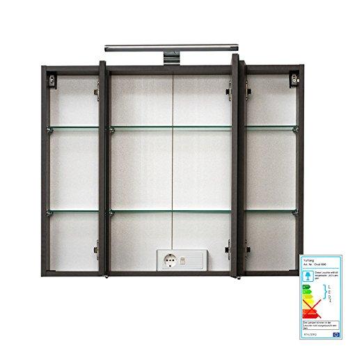 Badezimmer Spiegelschrank LED  mit Steckdose | 80x200x48 cm Spiegelschrank LED