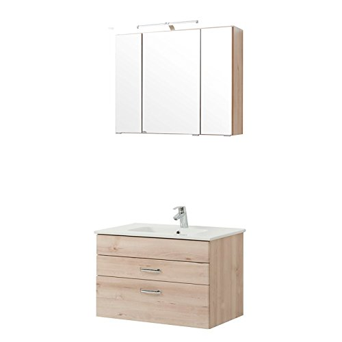 Badezimmer Spiegelschrank 80cm breit |  Waschtisch und Spiegelschrank 80 cm |  Spiegelschrank mit LED 80 cm breit