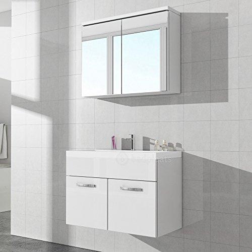 Badezimmerschrank Paso 02 80 Cm Waschbecken Weiss Hochglanz Spiegel