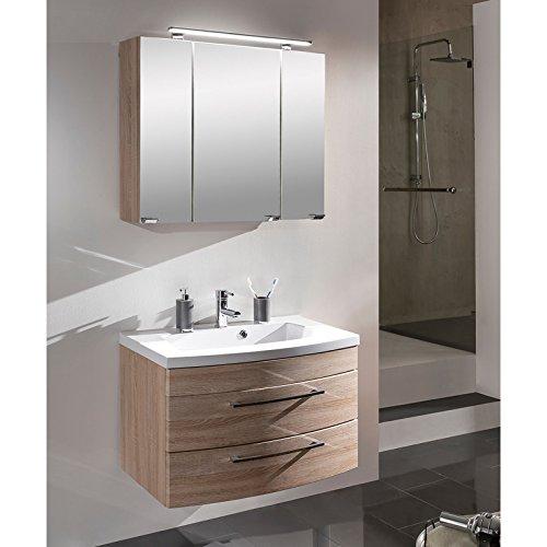 badm bel set 2 teilig eiche sonoma mit hochglanz griffen waschtisch mit unterschrank. Black Bedroom Furniture Sets. Home Design Ideas
