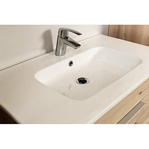 Badezimmermöbel Waschplatz Set in Hochglanz grau ○ 80cm Keramik ...