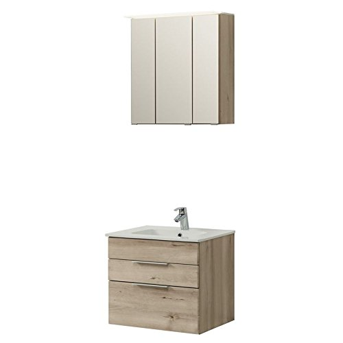badm bel set 2 teilig holzoptik buche iconic badezimmer waschplatz set 60cm waschtisch. Black Bedroom Furniture Sets. Home Design Ideas