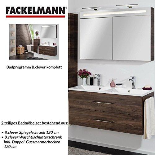 fackelmann badm bel set b clever 2 tlg 120 cm braun mit waschtisch unterschrank inkl doppel. Black Bedroom Furniture Sets. Home Design Ideas