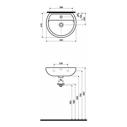 keramag kolo keramik waschbecken weiss 50 cm 577858. Black Bedroom Furniture Sets. Home Design Ideas