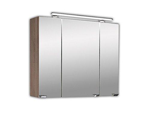 Badezimmer Spiegelschrank 3 türig   Spiegelschrank 80x20x68 cm    Badezimmer Holz Spiegelschrank
