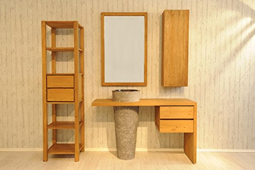 sam badezimmer set kubu bangli aus teak holz mit marmor waschbecken spiegel regal und. Black Bedroom Furniture Sets. Home Design Ideas