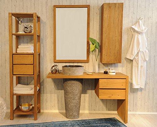 SAM® Badezimmer-Set Kubu Bangli aus Teak-Holz, mit Marmor Waschbecken,  Spiegel, Regal und Hängeschrank, ausdrucksstarke Maserung, genügend Stauraum