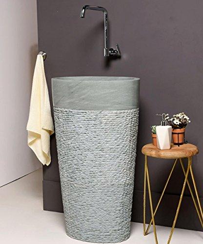 wohnfreuden marmor stand waschbecken halb s ule 50x35x90 cm creme rund g ste wc. Black Bedroom Furniture Sets. Home Design Ideas