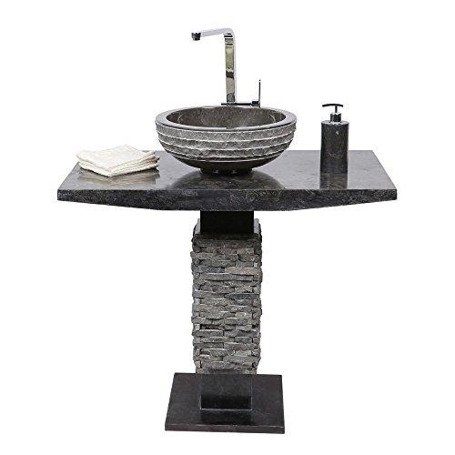 Handwaschbecken Marmor |  50x90 cm Handwaschbecken  |  Sschwaz Handwaschbecken | Naturstein Schwarz Waschbecken | Säulenwaschbecken Naturstein |