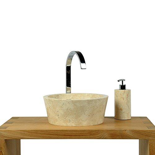wohnfreuden marmor waschbecken 30 cm gro rund creme naturstein waschplatz handwaschbecken. Black Bedroom Furniture Sets. Home Design Ideas