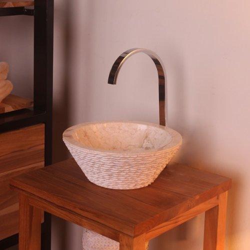 wohnfreuden marmor waschbecken 30 cm klein rund creme naturstein waschschale handwaschbecken. Black Bedroom Furniture Sets. Home Design Ideas