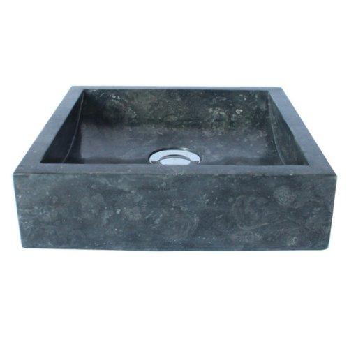 Waschbecken eckig stein  WOHNFREUDEN Marmor Waschbecken 30 cm anthrazit ✓ recht-eckig ...