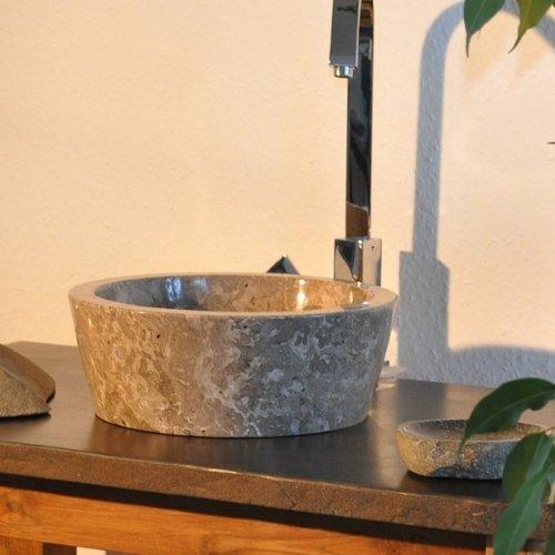 wohnfreuden marmor waschbecken 30 cm grau rund poliert steinwaschbecken oder naturstein. Black Bedroom Furniture Sets. Home Design Ideas