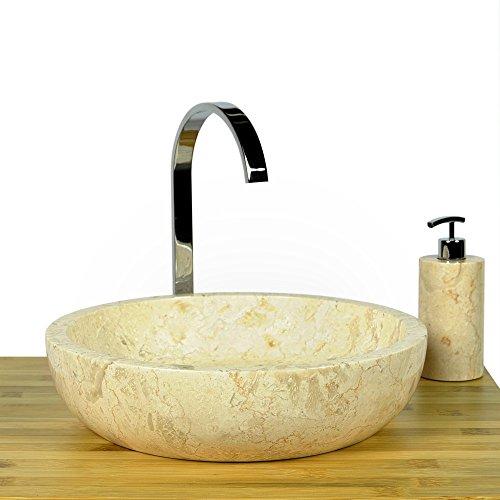 wohnfreuden marmor waschbecken 40 cm gro rund creme naturstein waschplatz handwaschbecken. Black Bedroom Furniture Sets. Home Design Ideas