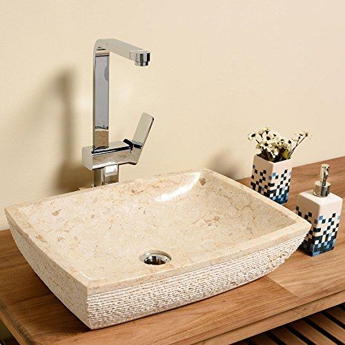 Marmor Waschbecken wohnfreuden marmor waschbecken 50 cm groß recht eckig creme