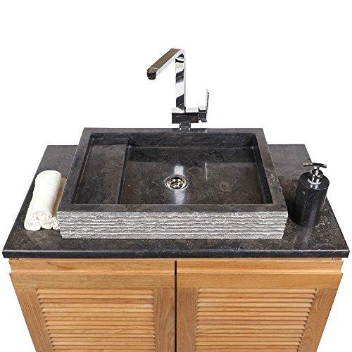 WOHNFREUDEN Marmor Waschbecken 60 cm ✓ recht-eckig anthrazit ✓  Steinwaschbecken oder Naturstein-Waschbecken für Bad Gäste WC ✓ inkl.  techn. Zeichnung ...