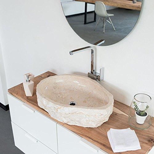 Wohnfreuden Natur Stein Marmor Aufsatz Waschbecken Ca 60 Cm Natur Creme Bad Wc