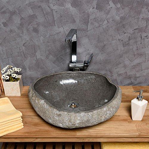 wohnfreuden naturstein waschbecken 50 cm aussen natur innen poliert steinwaschbecken waschschale. Black Bedroom Furniture Sets. Home Design Ideas