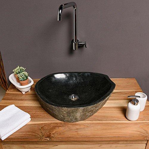 wohnfreuden naturstein waschbecken megalith rund oval 45 cm poliert stein aufsatzwaschbecken f r. Black Bedroom Furniture Sets. Home Design Ideas
