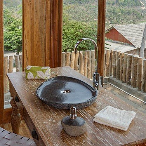 wohnfreuden naturstein waschbecken extraflach oval 40 cm. Black Bedroom Furniture Sets. Home Design Ideas