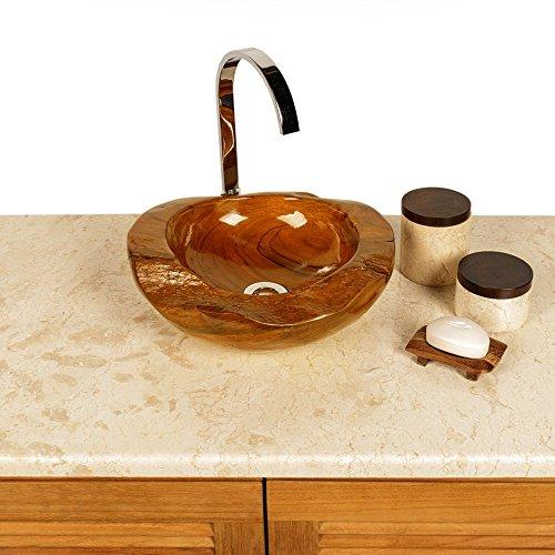 wohnfreuden teakholz waschbecken rund ca 30 cm top qualit t einzeln fotografiert auswahl. Black Bedroom Furniture Sets. Home Design Ideas