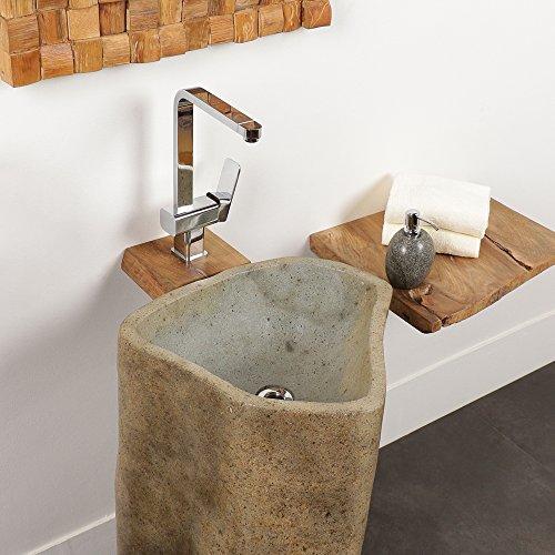 Wohnfreuden Flußstein - Waschtisch Säule rundum poliert Ø 45 cm  Standwaschbecken mit Bildergalerie