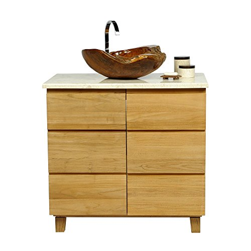Waschbecken mit Unterschrank  Naturholz | 45 cm Waschbecken mit Unterschrank | holz Waschbecken mit Unterschrank