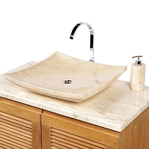 wohnfreuden naturstein marmor waschbecken piring waschtisch 50 cm creme. Black Bedroom Furniture Sets. Home Design Ideas
