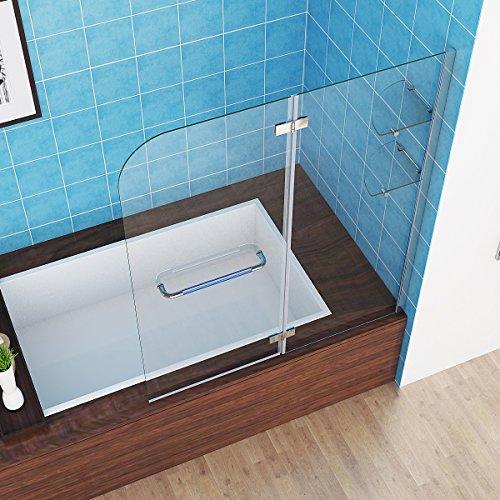 Badewannen Faltwand Aufsatz Duschwand Duschabtrennung 100 x 140 cm NANO Glas