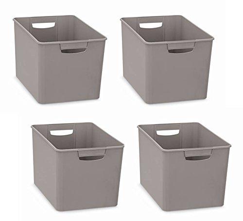 4 st ck xl aufbewahrungsboxen aus kunststoff mit zwei griffen in grau nicht transparent ma e. Black Bedroom Furniture Sets. Home Design Ideas