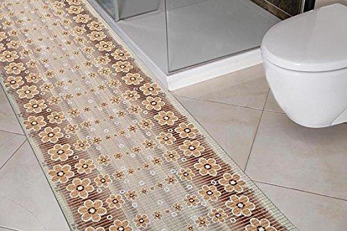 (7,99€/m) Weichschaummatte Antirutschmatte Badezimmermatte Sicherheit  Badvorleger Badezimmer WC Meterware - Küche 65cm breite | Farbe : Blumen  und ...