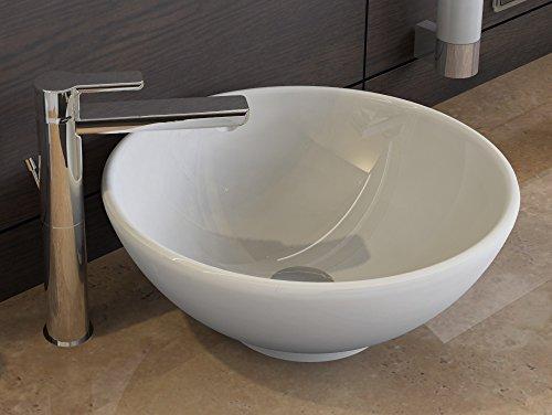 aqua bagno design keramik aufsatz waschschale rund waschbecken becken 40cm wei kr 40 1. Black Bedroom Furniture Sets. Home Design Ideas