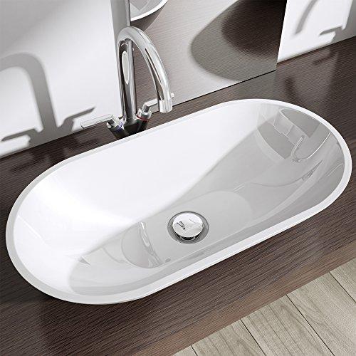 aufsatz waschbecken colossum813 mineralguss oval rund waschschale waschplatz waschtisch wei. Black Bedroom Furniture Sets. Home Design Ideas