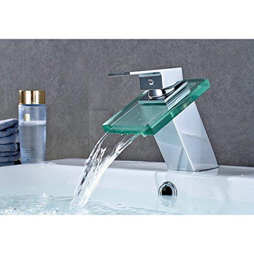Auralum Chrom Armatur Wasserhahn Waschtischarmatur mit Glas ...