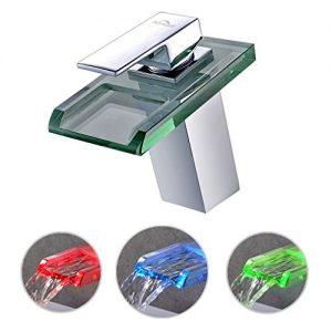 Waschbeckenarmatur Einhandmischer , wasserhahn aus glas mit LED , Beleuchteter Wasserhahn für waschbecken
