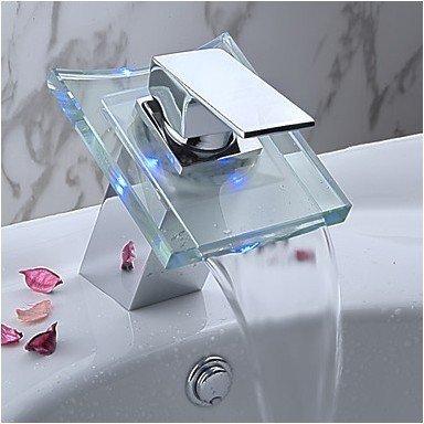 Auralum Wasserhahn Mit Chrom Glas Rgb Led Licht Temperatur