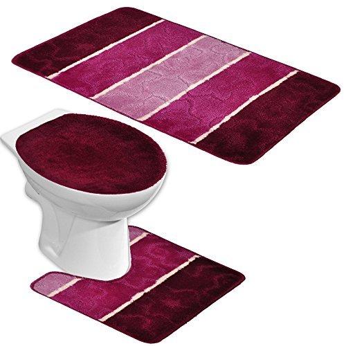badgarnitur orion 3 teilig badmatte bad set bordeaux rot lila stand wc. Black Bedroom Furniture Sets. Home Design Ideas