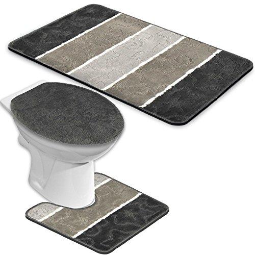 badgarnitur orion 3 teilig badmatte bad set dunkelgrau grau stand wc. Black Bedroom Furniture Sets. Home Design Ideas