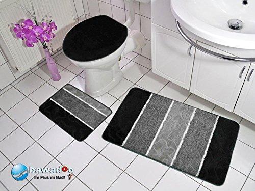 badgarnitur orion 3 teilig badmatte bad set schwarz grau h nge wc. Black Bedroom Furniture Sets. Home Design Ideas