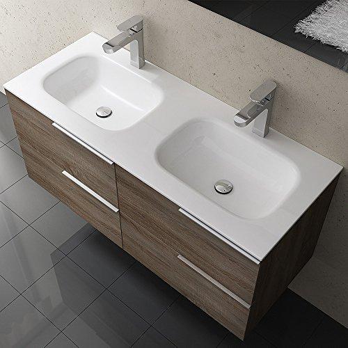 bth 120x48x47 cm design badm belset vanessa120 in nussbaum bestehend aus doppelwaschbecken. Black Bedroom Furniture Sets. Home Design Ideas