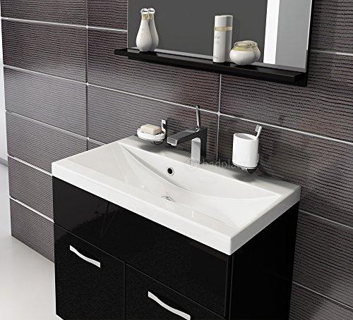 Badezimmer Badmöbel Montreal 02 60cm Waschbecken Hochglanz Schwarz Fronten  - Unterschrank Waschtisch Spiegel Möbel