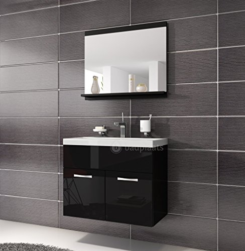 badezimmer badm bel montreal 02 60cm waschbecken hochglanz schwarz fronten unterschrank. Black Bedroom Furniture Sets. Home Design Ideas