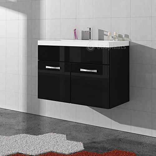 badmobel schwarz, badezimmer badmöbel paso 01 80 cm waschbecken hochglanz schwarz, Design ideen