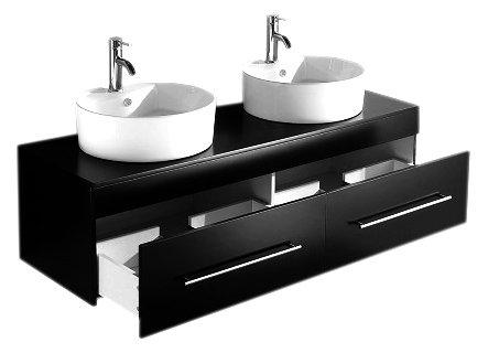 badm bel novum schwarz seidenglanz mit aufsatzwaschbecken. Black Bedroom Furniture Sets. Home Design Ideas