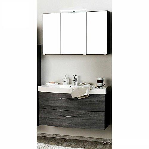 Badmöbel Set 2-teilig ● Eiche Rauchsilber, Graphitgrau ● Badezimmer  Komplettset: Waschtisch mit Unterschrank, Spiegelschrank mit  LED-Beleuchtung ● ...