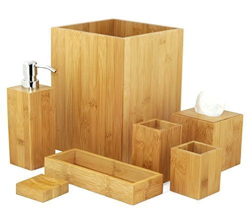 badset badezimmer set bambus seifenspender wc garnitur mk bamboo london bad accessoire set 7. Black Bedroom Furniture Sets. Home Design Ideas