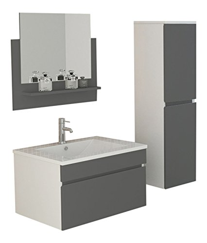 Badset gastein in grau hochglanz waschtisch spiegelschrank for Spiegelschrank grau